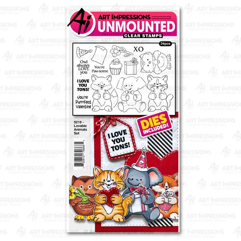 Lovable Animals, Art Impressions Clear Stamps - 750810796685