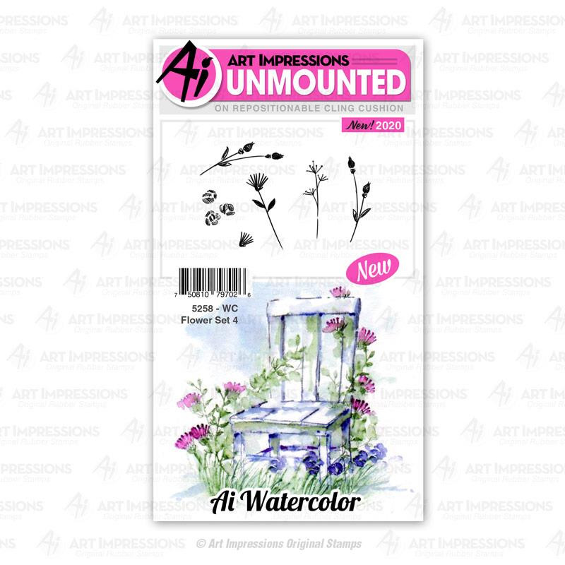 Watercolor Flower Set 4, Art Impressions Cling Stamps - 750810797026