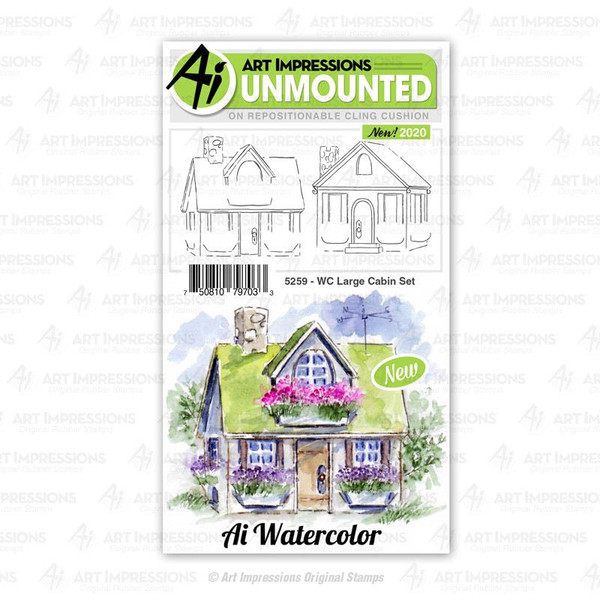Watercolor Large Cabin, Art Impressions Cling Stamps - 750810797033