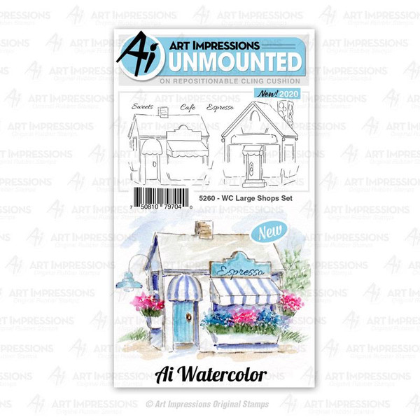 Watercolor Large Shops, Art Impressions Cling Stamps - 750810797040