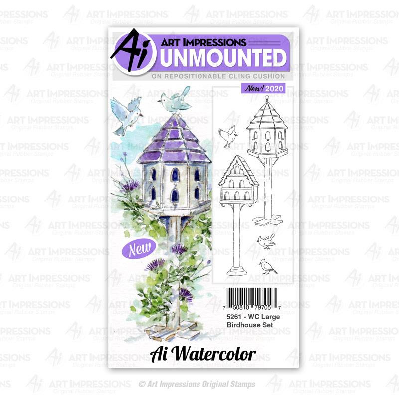 Watercolor Large Birdhouse, Art Impressions Cling Stamps - 750810797057