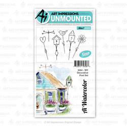 Watercolor Decorative Post, Art Impressions Cling Stamps - 750810797088