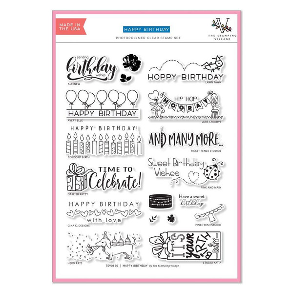 (PREORDER) Happy Birthday, The Stamping Village Clear Stamps -