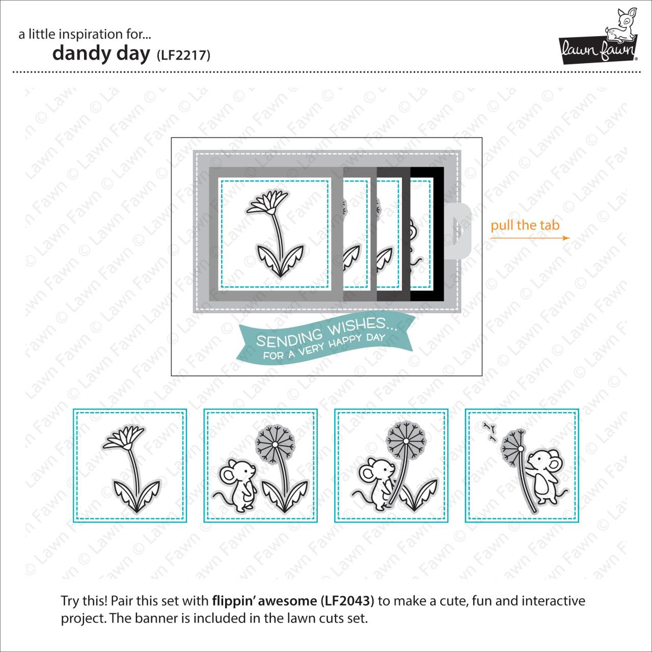 (PREORDER) Dandy Day, Lawn Fawn Clear Stamps - 035292674578