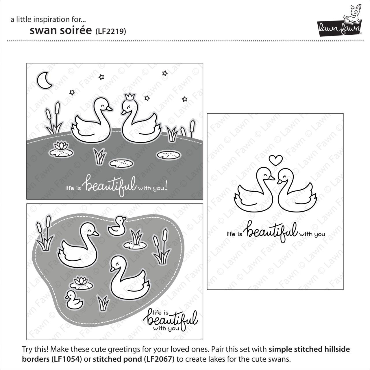 (PREORDER) Swan Soiree, Lawn Fawn Clear Stamps - 035292674592