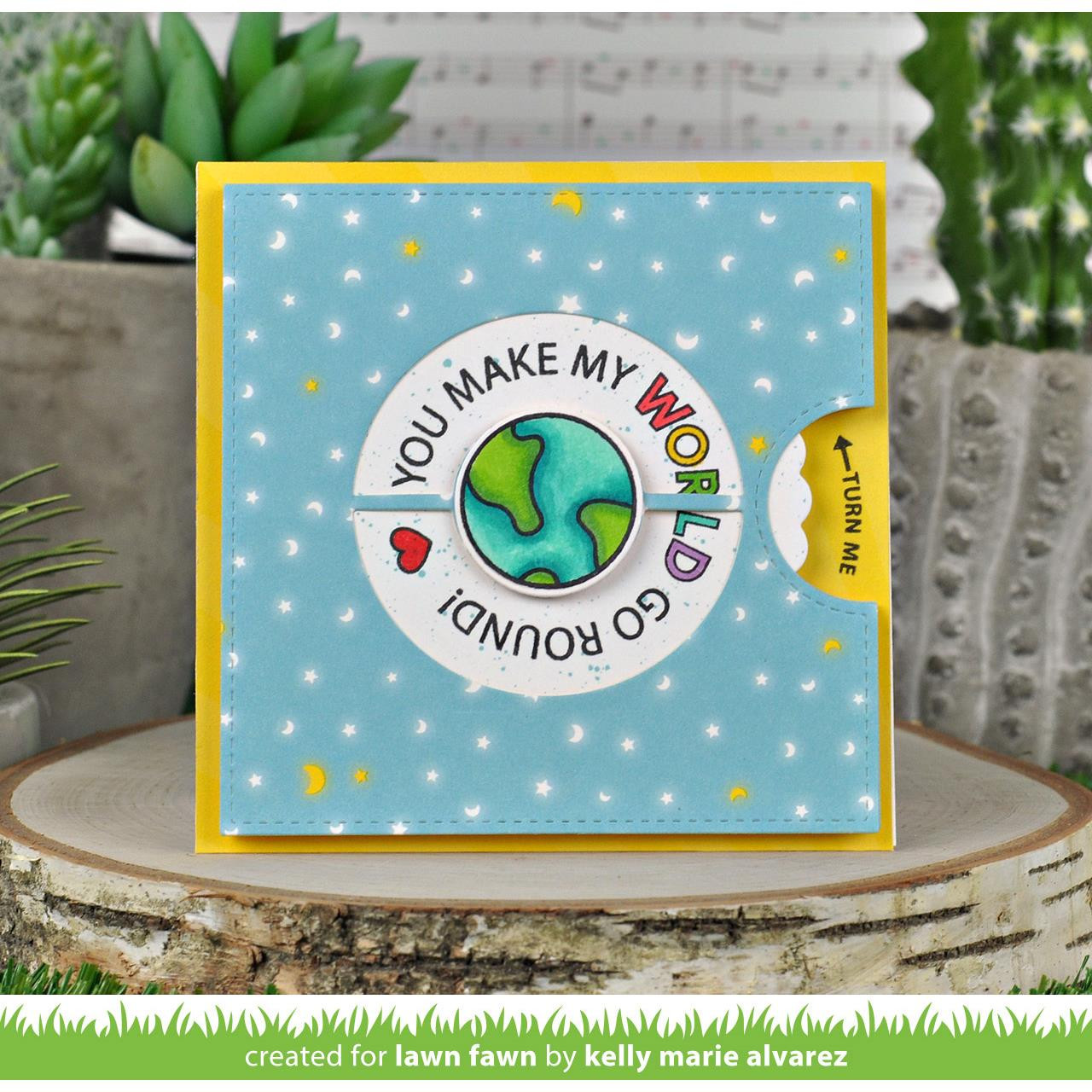 (PREORDER) Reveal Wheel Circle Sentiments, Lawn Fawn Clear Stamps - 035292674653