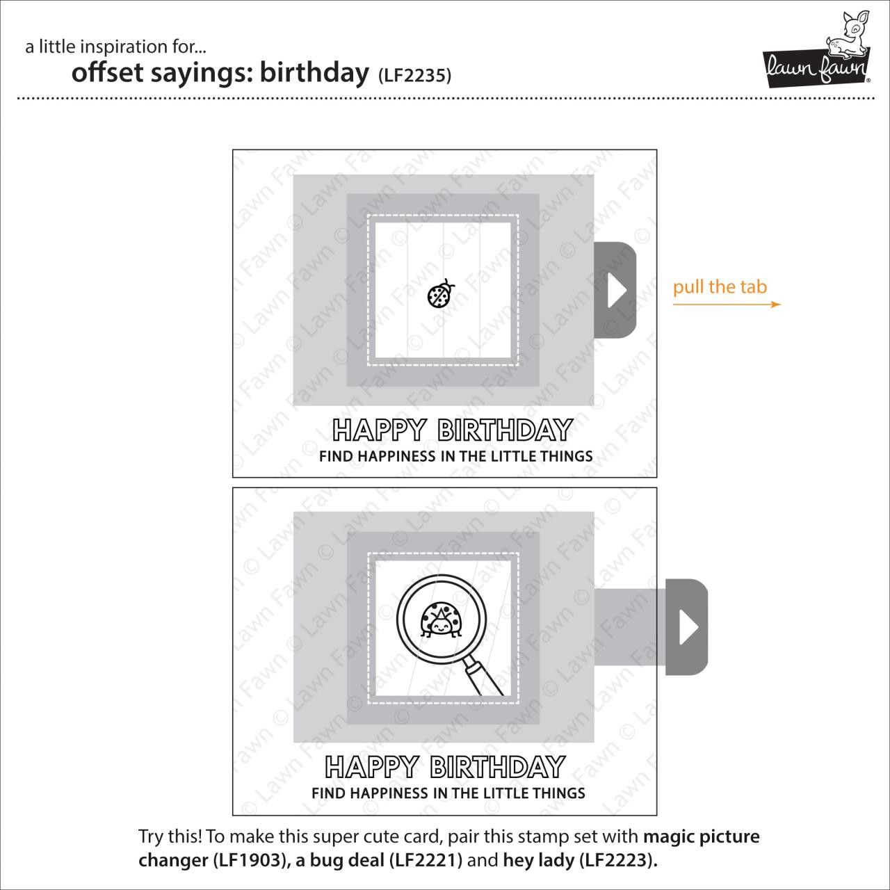 (PREORDER) Offset Sayings: Birthday, Lawn Fawn Clear Stamps - 035292674745