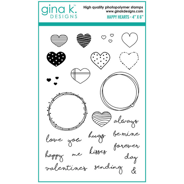 Happy Hearts, Gina K Designs Clear Stamps - 609015540213