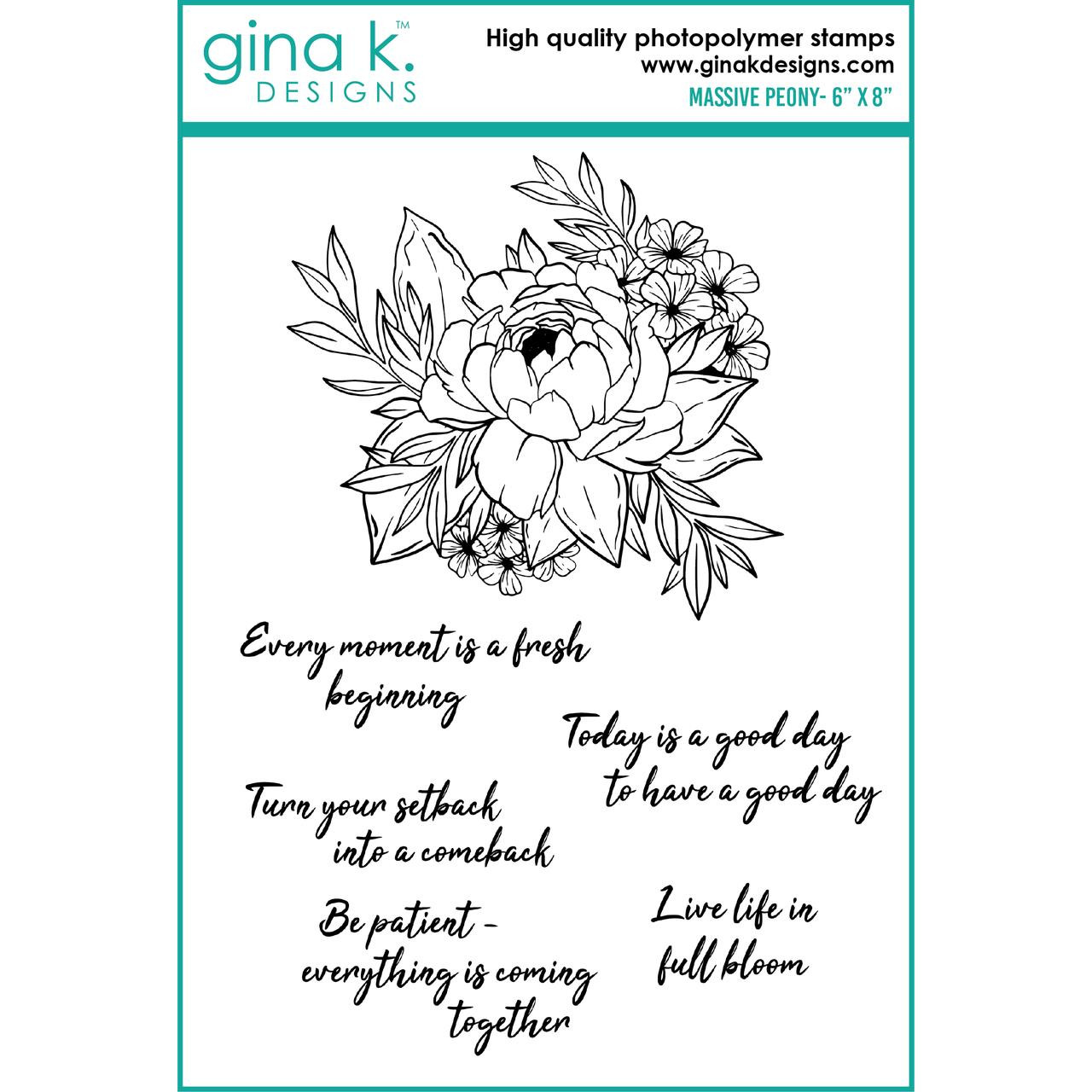 Massive Peony, Gina K Designs Clear Stamps - 609015540190