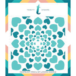 Heartburst Set of 2, Trinity Stamps Stencils -