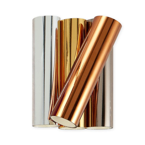 Essential Metallics Variety Pack Glimmer Set of 4, Spellbinders Hot Foil Rolls - 813233046307