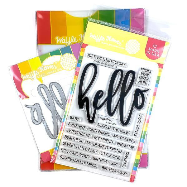 Oversized Hello, Waffle Flower Stamp & Die Combo - 644216792092