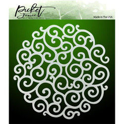 Flourish Circle, Picket Fence Studios Stencils - 745558004413