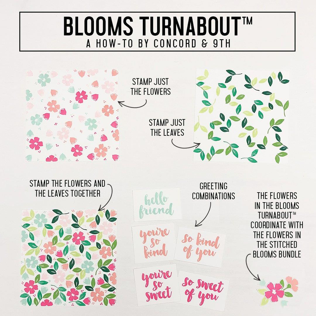 Blooms Turnabout, Concord & 9th Clear Stamps - 090222401372