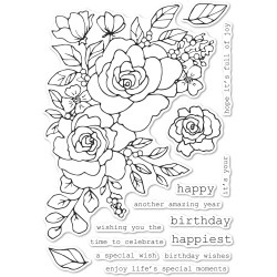 Birthday Rose Corner, Memory Box Clear Stamps -