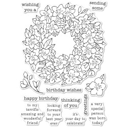 Cherry Blossom Wreath, Memory Box Clear Stamps -