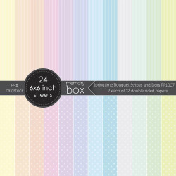 Springtime Bouquet Stripes and Dots, Memory Box 6 X 6 Paper Pad -