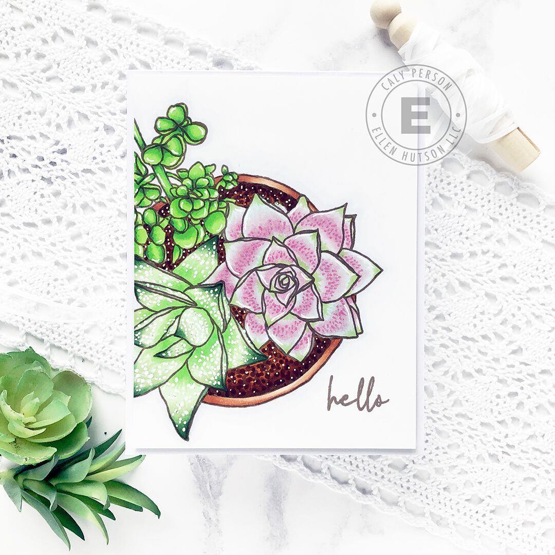 Mondo Succulent Pot by Julie Ebersole, Essentials by Ellen Clear Stamps -
