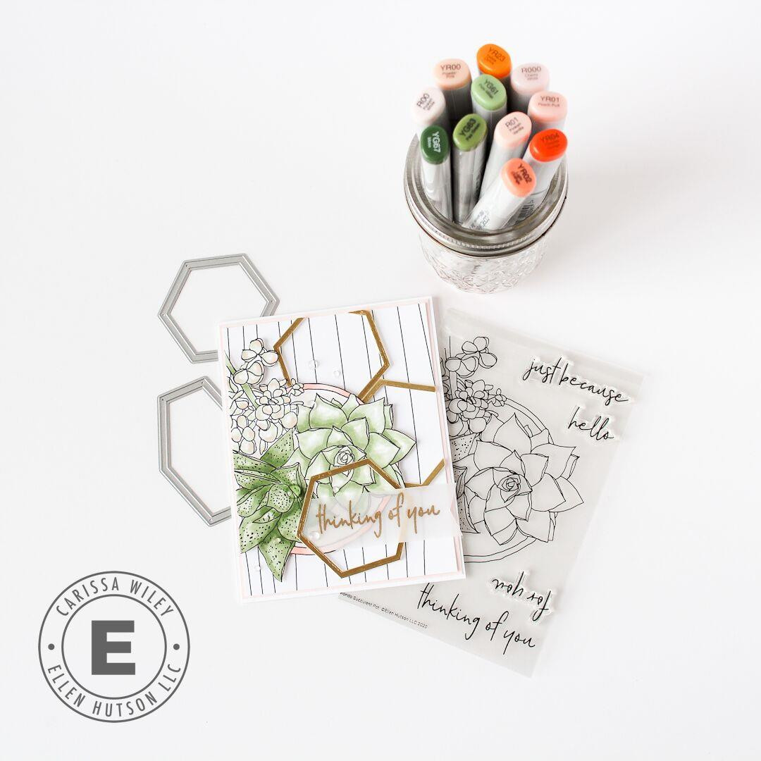 Mondo Succulent Pot by Julie Ebersole, Essentials by Ellen Clear Stamps -