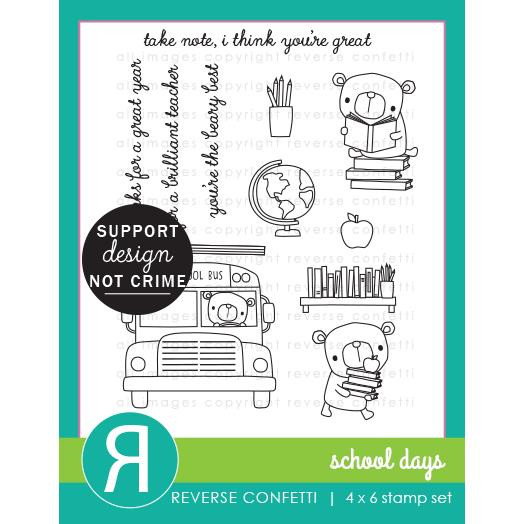 School Days, Reverse Confetti Clear Stamps -