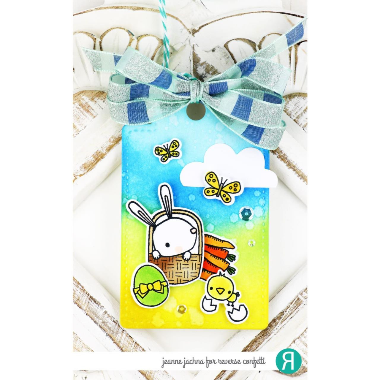 Spring Bunnies, Reverse Confetti Clear Stamps -
