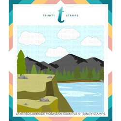 Layered Lakeside Mountain, Trinity Stamps Stencils -