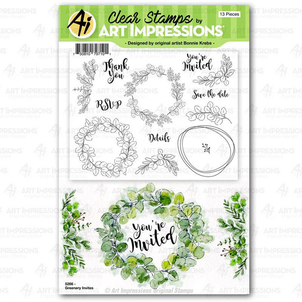 Greenery Invites, Art Impressions Clear Stamps - 750810797101