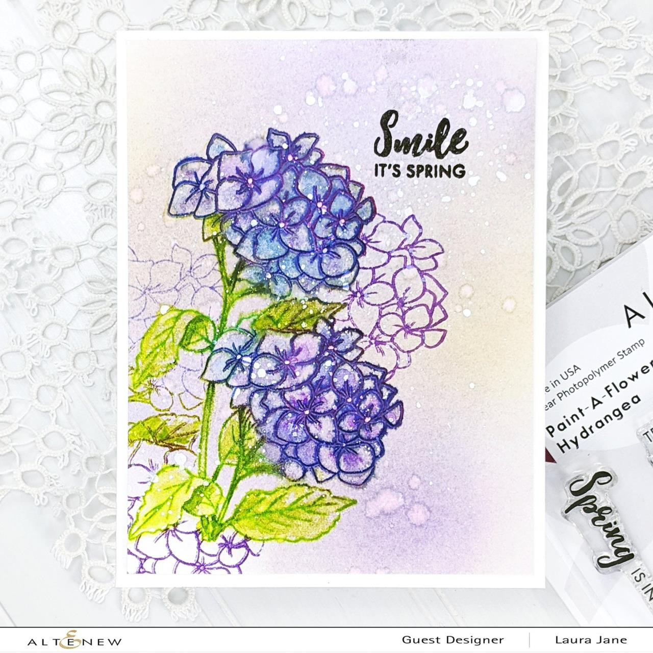 Paint-A-Flower: Hydrangea, Altenew Clear Stamps - 737787262726