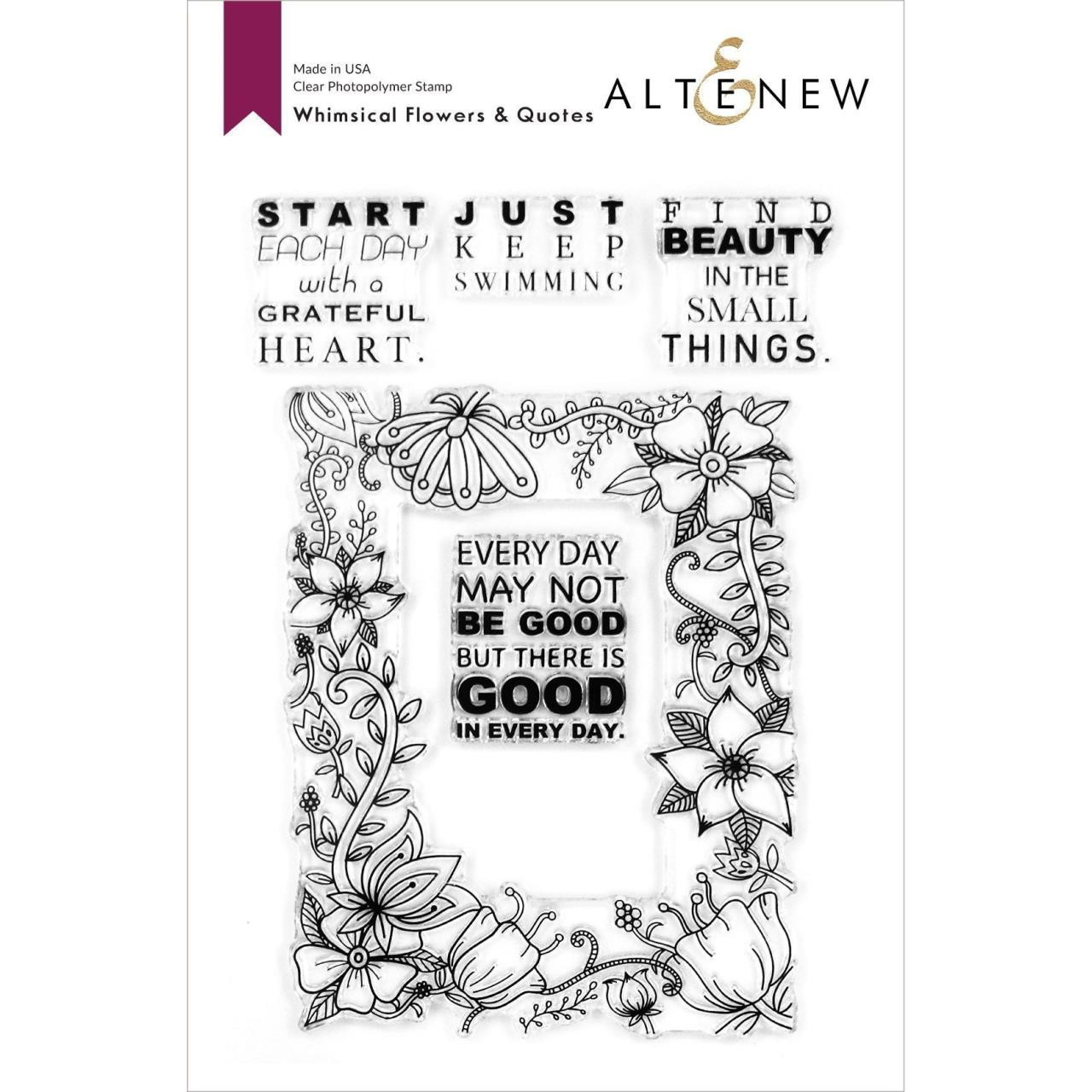Whimsical Flowers & Quotes, Altenew Clear Stamps - 737787263792