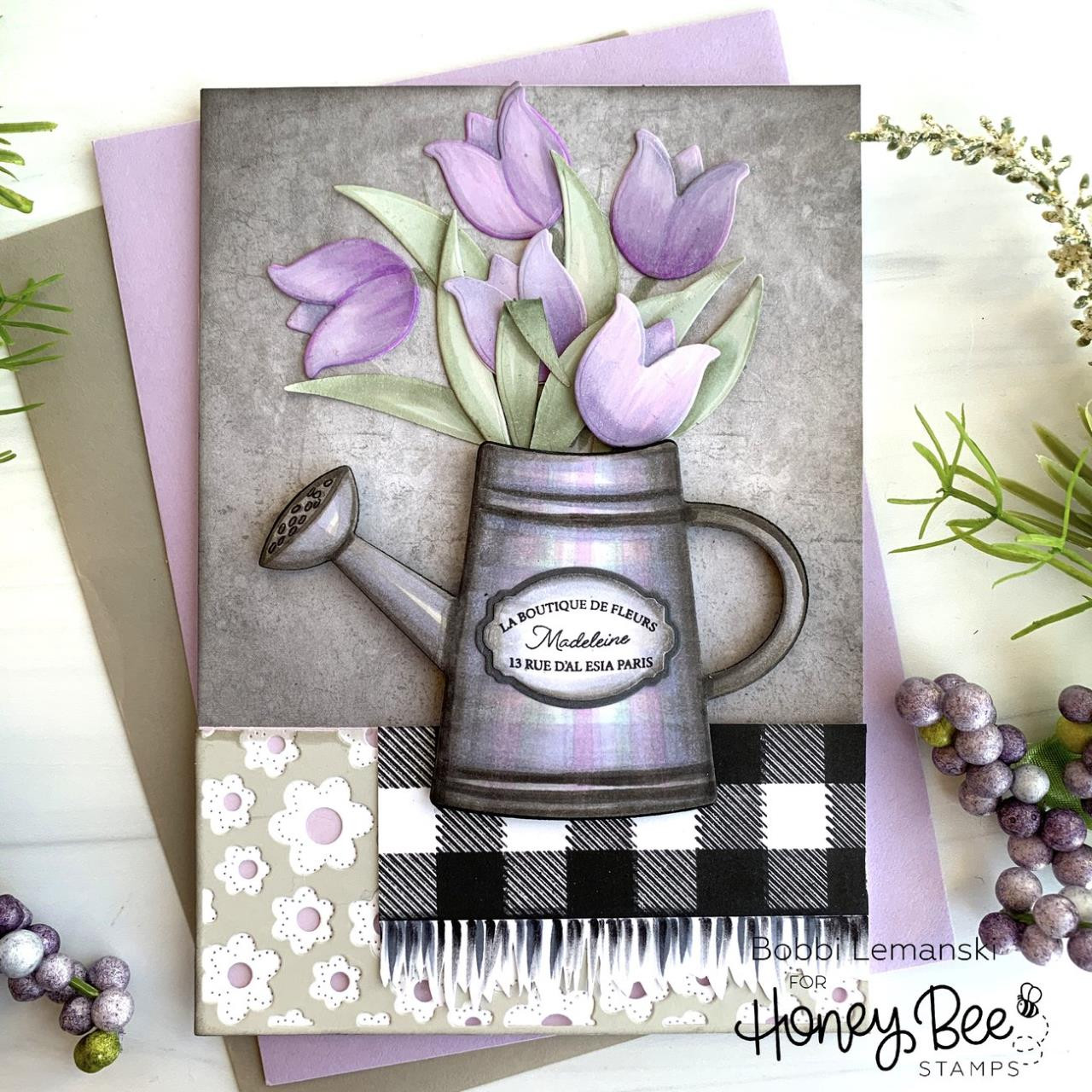 Buffalo Plaid, Honey Bee Clear Stamps - 652827604086