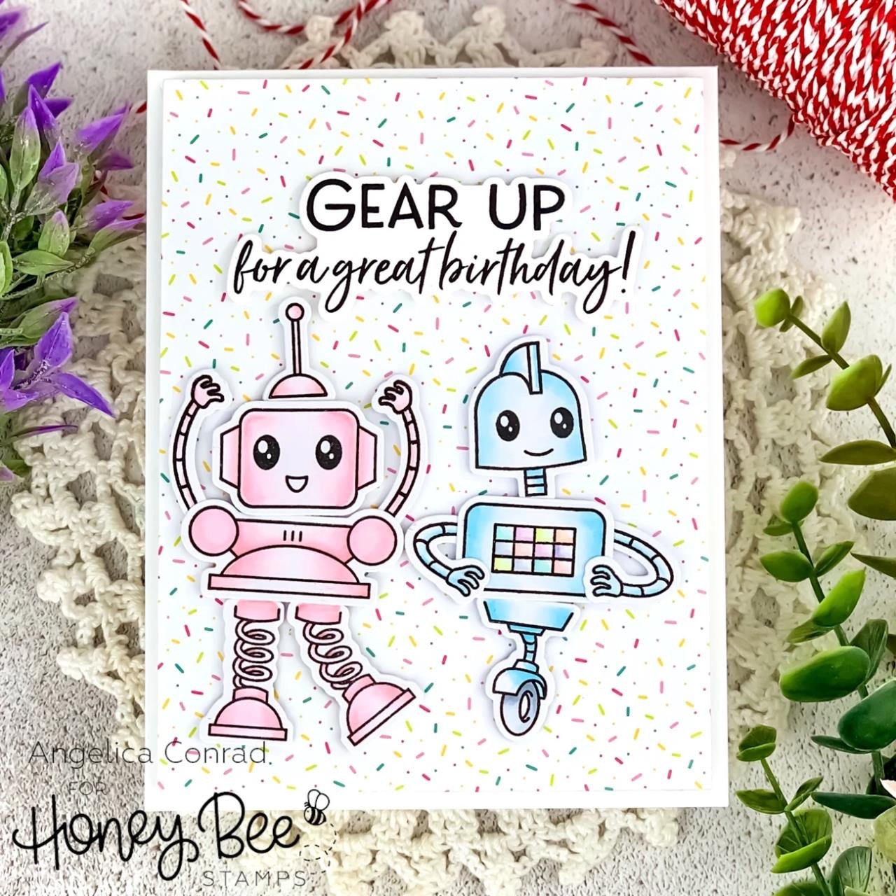 Gear Up, Honey Bee Clear Stamps - 652827603973