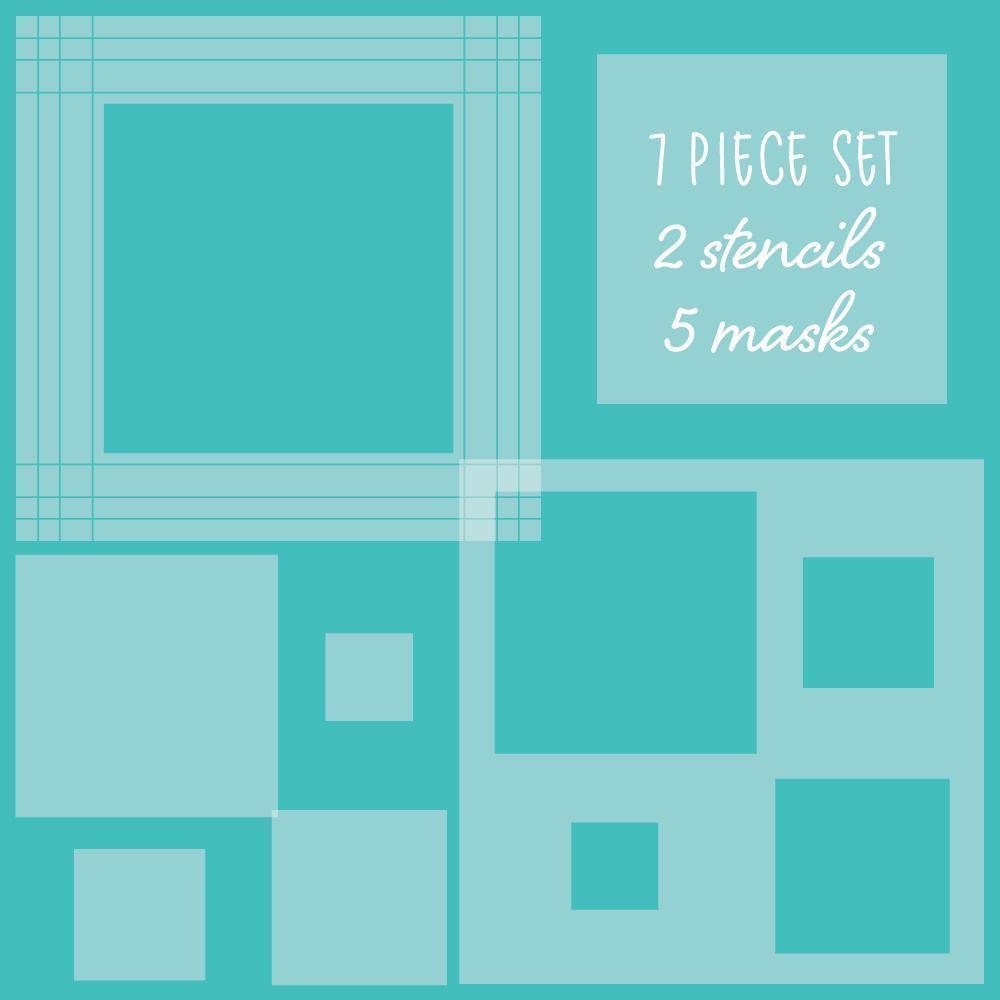 Square Spotlight Set of 7, Honey Bee Stencil & Mask Set - 652827603850