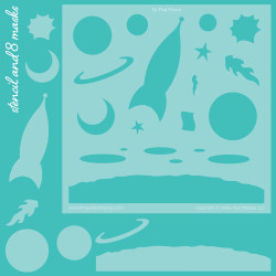 To the Moon Scene Builder Set of 9, Honey Bee Stencil & Mask Set - 652827603768