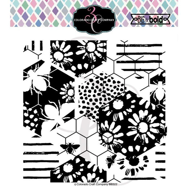 Daisy & Bee Background, Colorado Craft Company Clear Stamps -