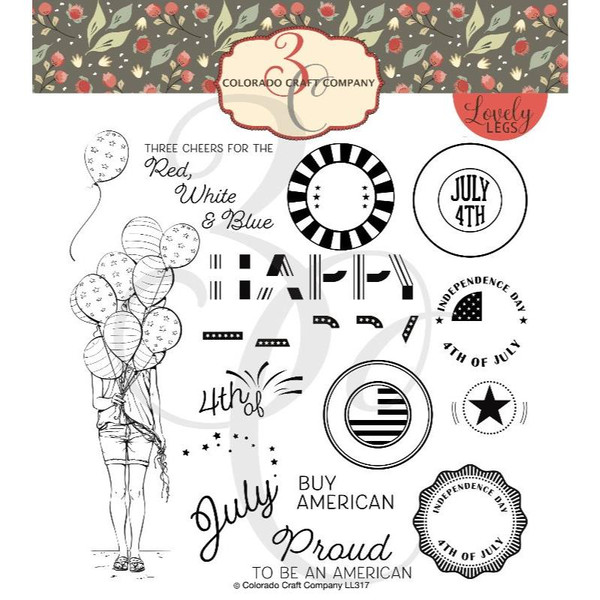 Red, White & Blue, Colorado Craft Company Clear Stamps -