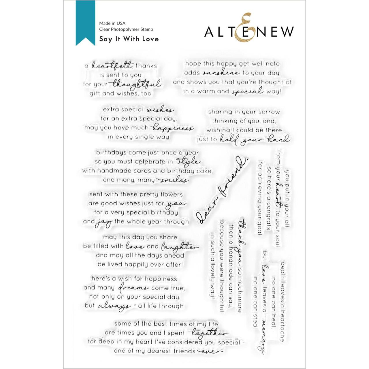 Say It With Love, Altenew Clear Stamps - 737787264997