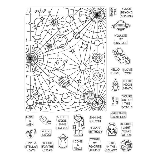 Galaxy Peek-A-Boo Parts, Hero Arts Clear Stamps - 085700927116