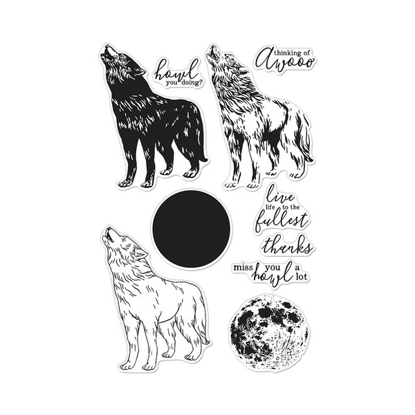 Color Layering Howling Wolf, Hero Arts Clear Stamps - 085700927192