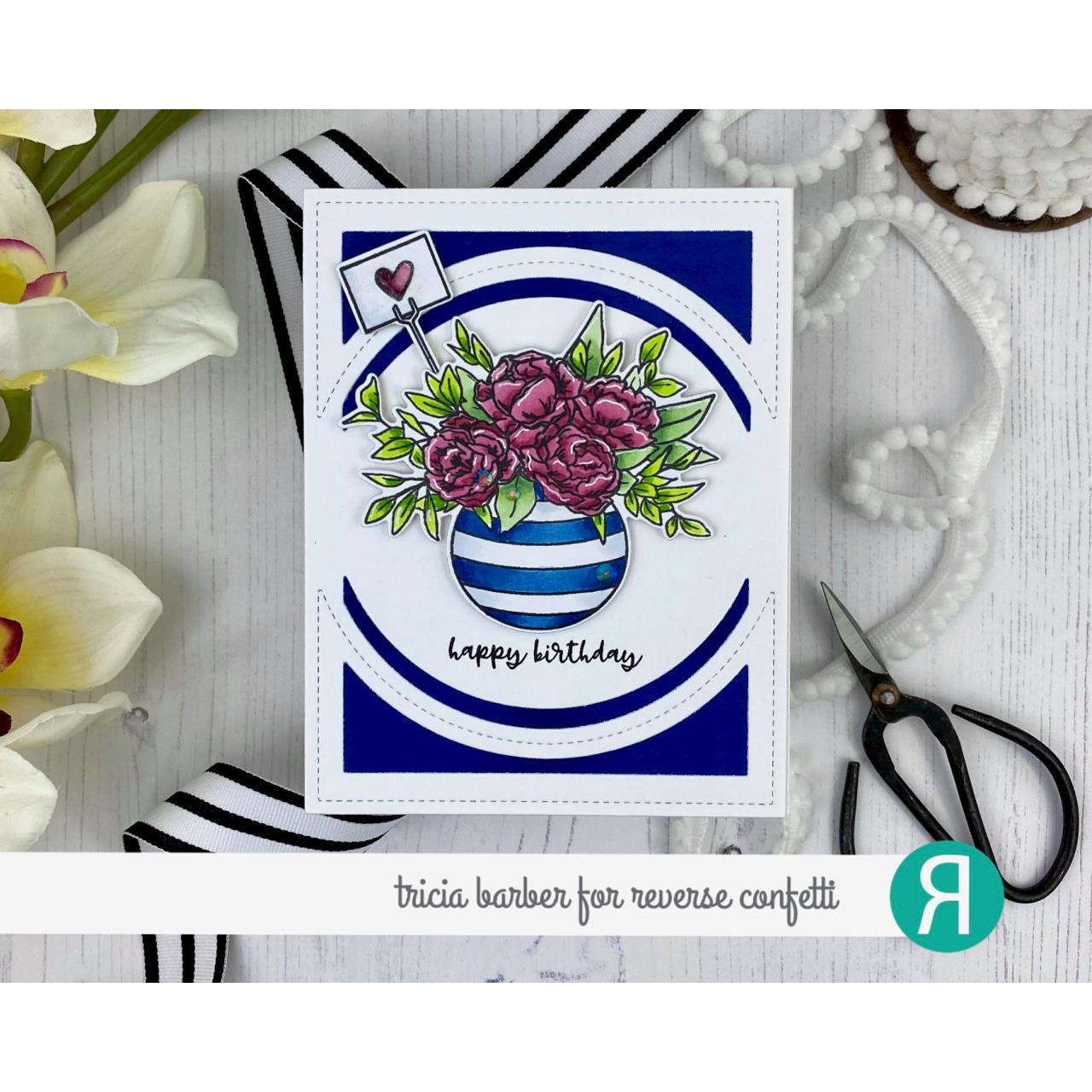 Bowl of Blooms, Reverse Confetti Cuts -
