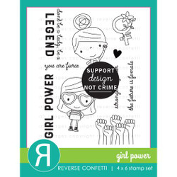Girl Power, Reverse Confetti Clear Stamps -