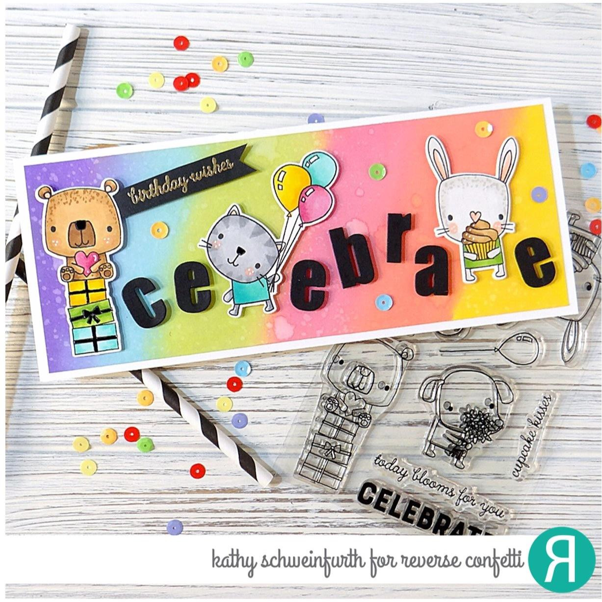 Party Pals, Reverse Confetti Clear Stamps -