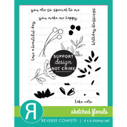 Sketched Florals, Reverse Confetti Clear Stamps -