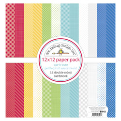 Bar-B-Cute Petite Print Assortment, Doodlebug 12 X 12 Paper Pack -
