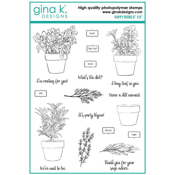 Happy Herbs, Gina K Designs Clear Stamps - 609015526422