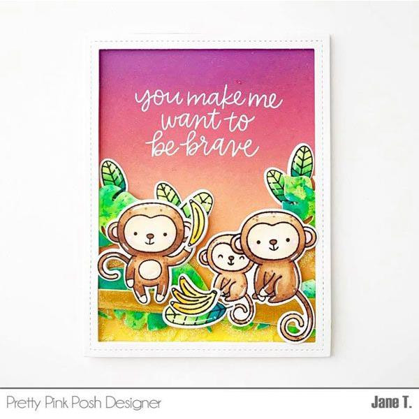 Monkey Friends, Pretty Pink Posh Clear Stamps -