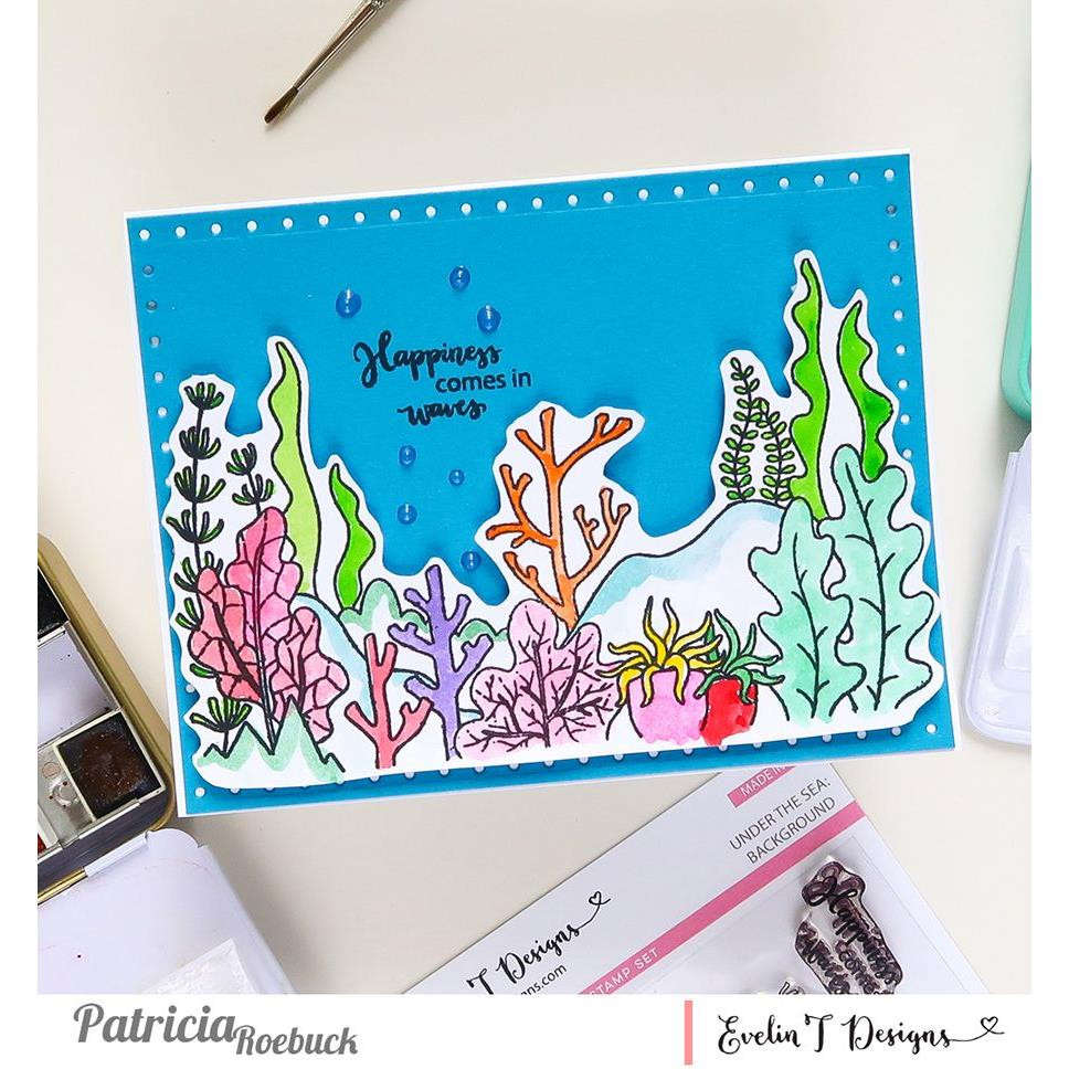 Under the Sea: Background, Evelin T Designs Clear Stamps -