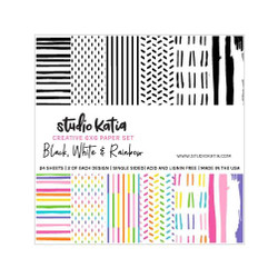 Black, White, & Rainbow, Studio Katia 6 X 6 Paper Set -