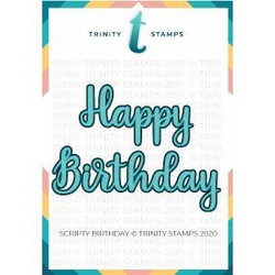 Scripty Birthday, Trinity Stamps Dies -