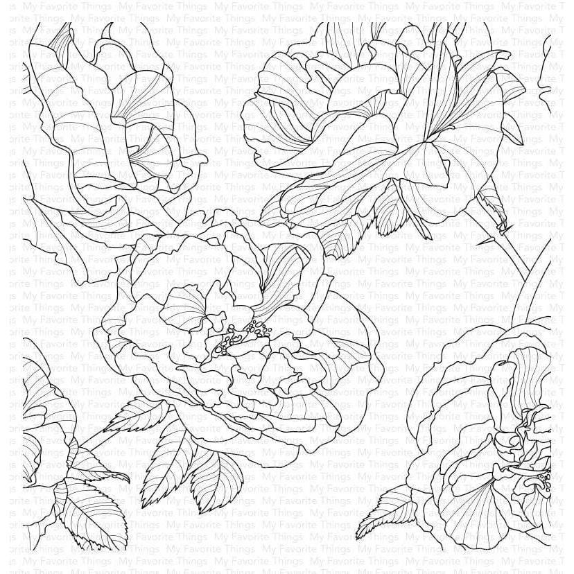 Fanciful Roses Background, My Favorite Things Cling Stamps - 849923035610