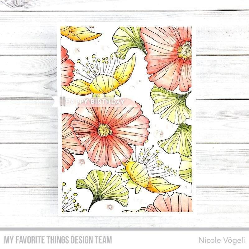 Loosely Lined Flowers Background, My Favorite Things Cling Stamps - 849923035641